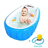 Inflatable Baby Bathtub, Portable Air Bathing Dish,Thick Shower Basin for Toddler (Blue)