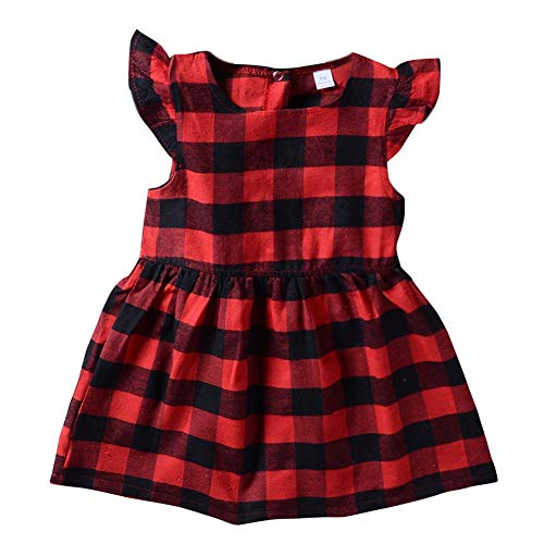 Gyratedream Zomer Casual Baby Meisjes Plaid Patroon Flare Sleeve Jurk Kinderen Peuter Pageant Sundress
