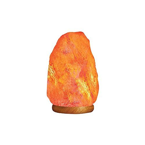 HemingWeigh - Lampe en sel de roche naturel de l'Himalaya avec socle en bois/câble d'alimentation/ampoule (2,72 à 3,17 kg)