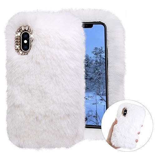 Cestor Weich Flauschige Silikon Plüsch Hülle für iPhone 11,Niedlich Winter Warm Pelzig Faux Pelz Glitzer Diamant Schützend Stoßfest Hülle mit 3D Kristall,Weiß