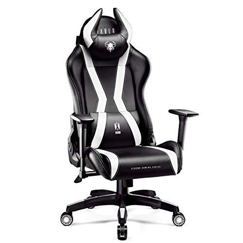 Diablo X-Horn Gamestoel Gaming Stoel Bureaustoel 3D Armleuningen Ergonomisch Ontwerp Lumbaal/Nekkussen Imitatieleer (XL, Wit)