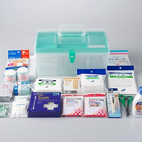応急手当用品20点セット プラスチック製救急箱 救急セット スポーツ 防災 事業者向け 労働安全衛生規則準拠 防災
