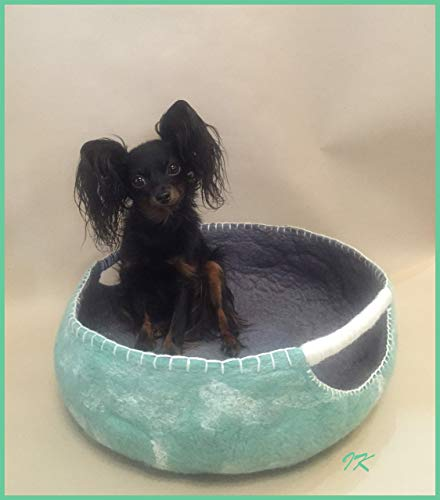 Organic Felted Wool Dog Bed for Small Dogs