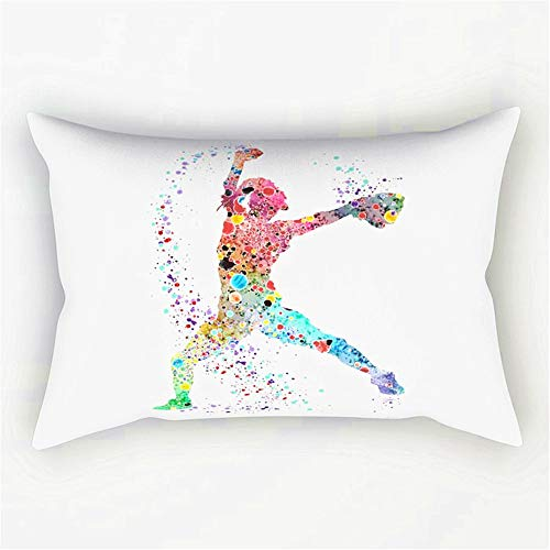 Kissenbezug Samt gemustert mit Nackenrolle Kissen Baseball Softball Krug Aquarelldruck Kunstdruck Mädchen Softball Malerei 30 x 50 cm