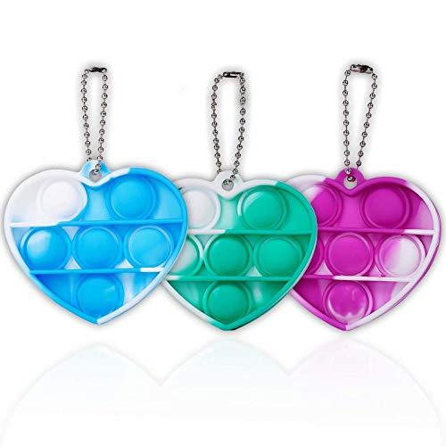 ZNNCO Tie-dye Pop Fidget Toy,Fidgets Sensory Toys Mini Fun Bubbles Fidget Squeeze Keychain Toy for Kids Adults (Heart-Blue+Green+Purple)