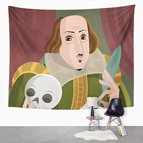 Suklly Tapestry Wall Hanging Shakespeare English Best Writer Cartoon Classical Famous Feather Flat Home Decor Polyester Living Bedroom Dorm 50 X 60 Inches Picnic Mat Beach Towel Bed Cover