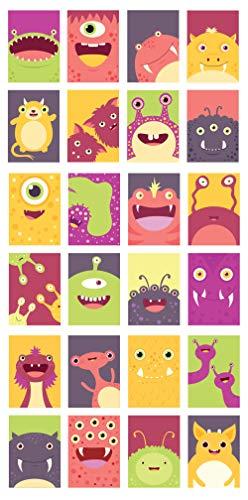 48 umweltfreundliche, leere Monster-Grußkarten aus recycelter Karte mit grünen, blauen und roten recycelten Umschlägen.
