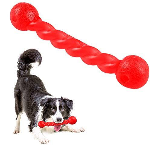 Qianyou Hundespielzeug für Zähne, Gummi Spirale Kauknochen Ungiftig Unzerstörbar Hundemolarenstab Welpen Intelligenzspielzeug Weich Beißwiderstand Hundezahnbürste Haustier Mundpflege, Groß/Rot