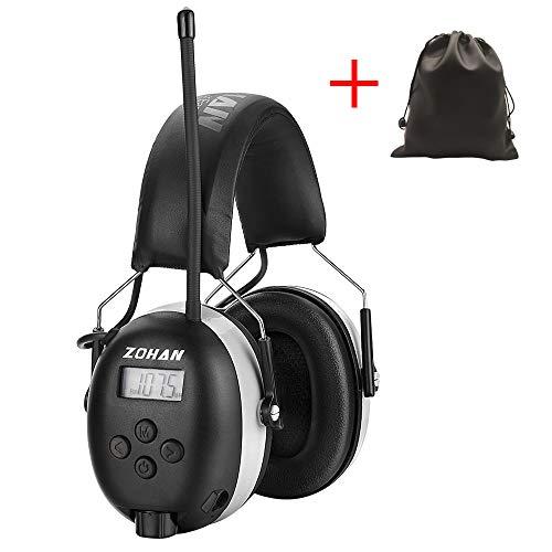 Zohan SNR 31 dB MEHRWEG Gehoorbescherming met FM/AM, MP3-compatibel ruisonderdrukking, voor industrie, bouw en maaien grijs