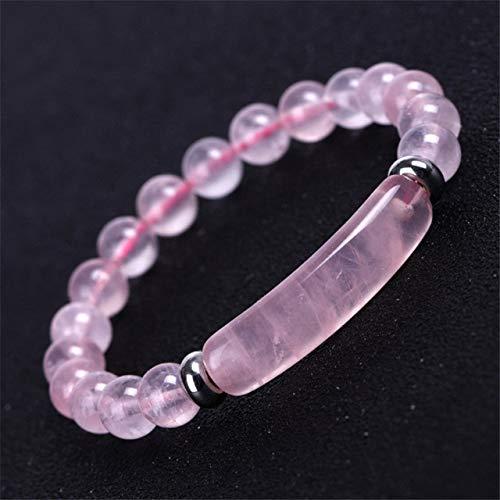 K-ONE Pulsera de Hilo de Piedra Natural 8Mm Curación Rosa Cuarzo Aventurina Ágatas Cristal Rosa Rectangular Bar Charm Beaded Pulseras