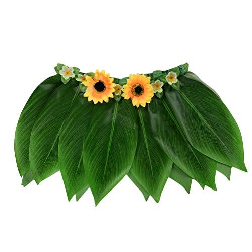 BESTOYARD Hawaiian Ti Leaf Falda Falda de Hierba Verde con Flores Artificiales Hula Hawaiana Accesorio de Vestuario para la Playa de Verano Fiesta de la Piscina favores