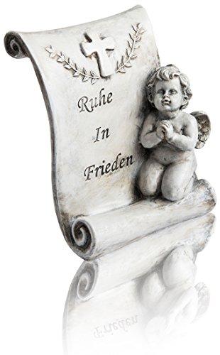 CHICCIE Laine de Police avec Ange et Inscription « Ruhe in Frieden » 22 cm