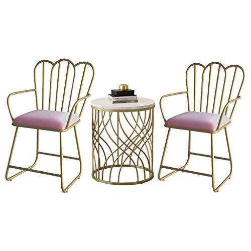 N/Z Tägliche Ausrüstung 3er-Set Stuhl- und Tischset Marmortisch Freizeitkaffee Essen für Make-up Milchtee Dessert Shop Cafe Rückenlehne Armlehne Samt gepolstert 48 cm x 48 cm x 45 cm / 60 cm x 60 cm