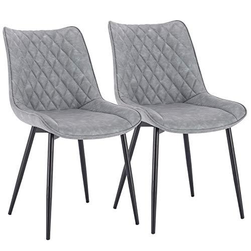 WOLTU® Esszimmerstühle BH210gr-2 2er Set Küchenstuhl Polsterstuhl Wohnzimmerstuhl Sessel mit Rückenlehne, Sitzfläche aus Kunstleder, Metallbeine, Antiklederoptik, Grau