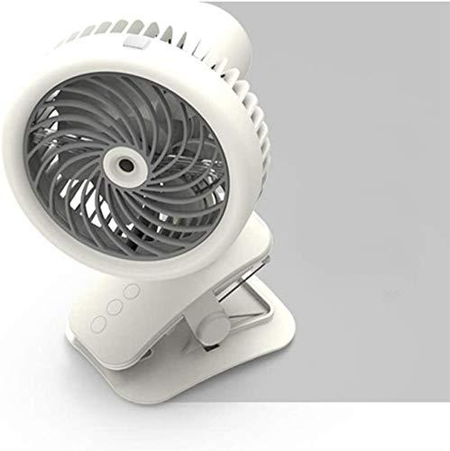ZXCV Tragbare Kleiner Ventilator USB-Miniclip-Art Kopfschütteln kleine Ventilator Spray Befeuchtungsventilators, DREI-Stufen-Schalter LCY (Color : White)