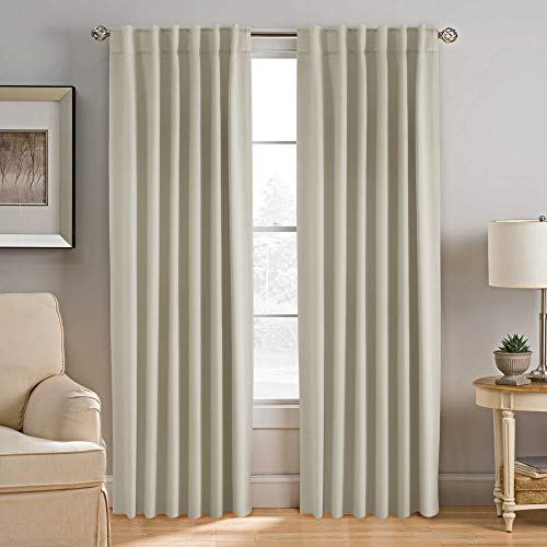 H.VERSAILTEX Blackout Curtains Thermal Insulated Window Treatment Panels Room Darkening Blackout Drapes for Living Room Back Tab/Rod Pocket Bedroom Draperies, 52 x 84 Inch, Cream, 2 Panels