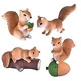 YIBING 4pcs / Set Squirrel Family Model Cartoon Animal Figurine Dollhouse Cake Home Miniatura Decoración, Color marrón