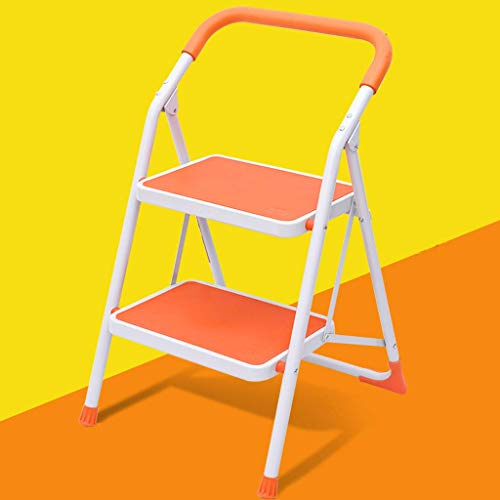 GJSN Simple Multifunctional Folding Stool,Step Stool Two-Step Household Folding Small Ladder Ladder Chair Dual-Use Ladder Bench Thickening Indoor Multi-Function Herringbone Ladder Staircase Stool,Ora