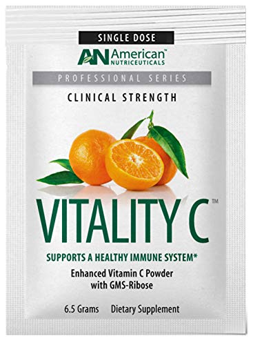 American Nutriceuticals – Vitality C Single Dose – 20 Packets – Ultra High–Potency Vitamin C Powder Without Gastric Distress – Enhanced Absorption, Neutral pH with GMS–Ribose Complex