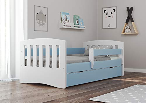 Bjird Kinderbett Jugendbett 80x160 80x180 Blau mit Rausfallschutz Schublade und Lattenrost Kinderbetten für Mädchen und Junge - Classic I 180 cm