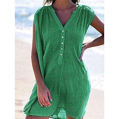 W-Fight 2019 Women Summer Shirt Dress Bikini Cover Up Beach Holiday Button Down Sundress