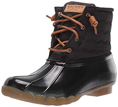 Sperry Womens Saltwater Chevron Quilt Nylon Boots, Black, 8.5