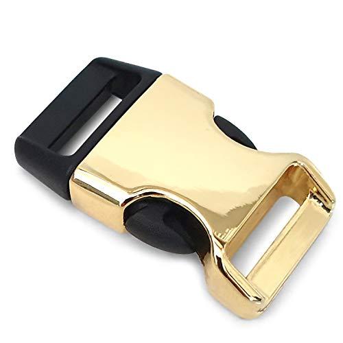 Ganzoo Lot de 8 fermoirs en plastique pour bracelets paracorde, colliers de chien, sac à dos, couleur : doré/noir