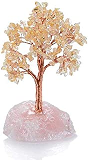 KALIFANO Premium Natural Citrine Gemstone Chakra Crystal Tree with Rose Quartz Base with Healing Properties - Bonsai Feng Shui Money Tree for Wealth and Prosperity