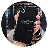 Fashion-Lover - Carcasa para iPhone X XR XS MAX (papel brillante, diseño de avión, para iPhone 6S, 6, 7, 8 Plus, para parejas, avión BK, para iPhone 6 y 6S
