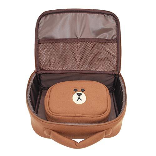 WEMUR Trousse de Toilette Maquillage Señoras de Viaje Bolsa de Cosméticos-Amarillo (Color : Brown)