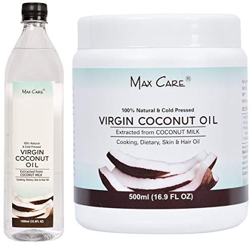 Maxcare Virgin Coconut Oil (Cold Pressed) 1000ML + Maxcare Virgin Coconut Oil (Cold Pressed) 500ML Wide Mouth