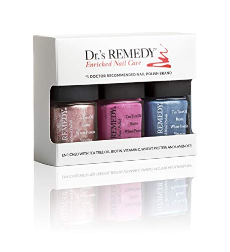 Dr.'s Remedy All Natural Vegan Nail Polish SPIRITED SPARKLE KIT Organic Non Toxic 3 Piece Quick Dry Long Lasting - REFLECTIVE Rose PLAYFUL Pink BOUNTIFUL Blue