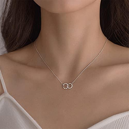 925 cristal de plata de ley pendiente redondo doble del encanto del grano collar para las mujeres joyería de la boda collar Gargantilla