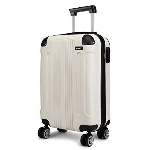 Kono Zwillingsrollen Koffer Trolley Reisekoffer Handgepäck Hartschale ABS Gepäck Spinner Rollenkoffer (Beige, M(56 cm - 40 L))