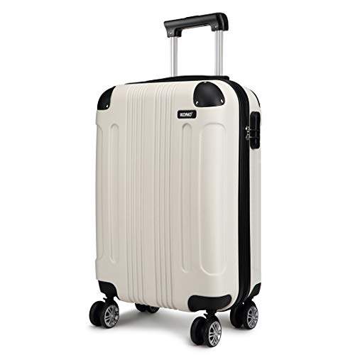 Kono 20 Inch Hard Shell Luggage Lightweight ABS 4 Wheels Spinner Business Trip Trolley Case Cabin Carry-on Hand Suitcase (Beige,S)