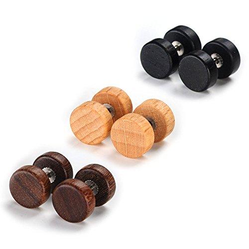 VU100 Pendientes de Acero Inoxidable Quirúrgico y Madera para Oído Dumbbells Aretes de Perno Forma Pesas para Hombre Mujer Unisex 8mm 6PCS