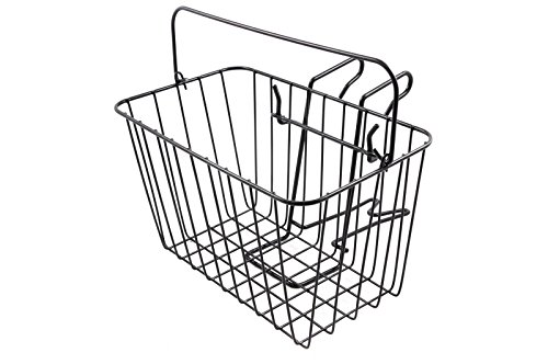 NEW FRONT WIRE BIKE BASKET WITH FITTINGS AND HANDLE STEEL BLACK COATED 14' WIDE