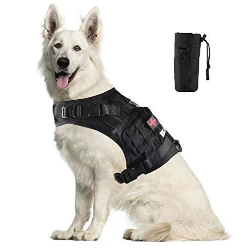 Hanshengday Tactical Dog Vest-Training Molle Harness-Tactical Dog Backpack-Pet Tactical -Vest Detachable Pouches-Relective Patches¡