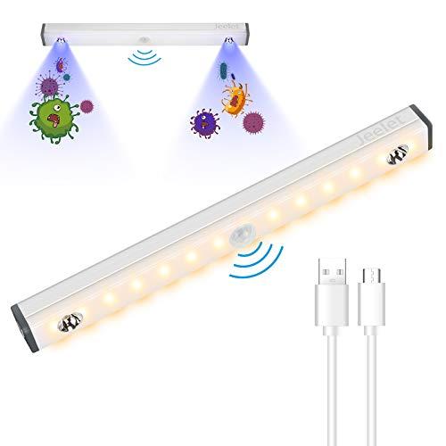 Jeelet Luci Armadio con Sensore di Movimento, UV Sterilizzazione Intelligente Ultravioletta, Per Armadi, Corridoi, Scale Luce per Armadio USB Ricaricabile (210mm UV lamp)