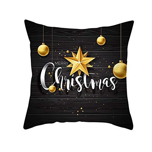 ANAZOZ Funda Cojin 40x40 Salon,Funda de Cojín de Poliéster Fundas Cojines Bolas de Decoración y Estrellas Merry Christmas Negro Blanco Oro