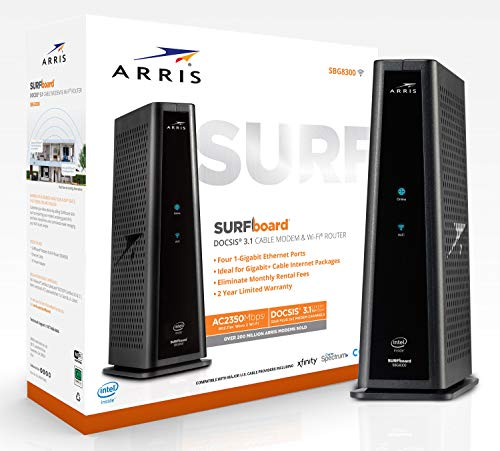 ARRIS SURFboard SBG8300 DOCSIS 3.1 Gigabit Cable Modem & AC2350 Dual Band Wi-Fi Router, Approved for...