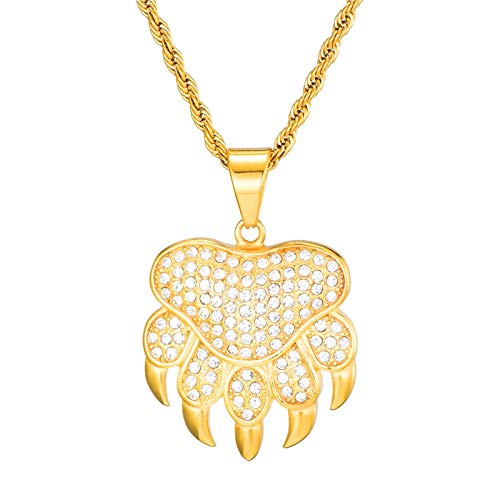 TUDUDU Full Rhinestone Paw Pendant Necklaces Gold Color Iced Out Stainless Steel Necklace for Men Jewelry Necklace Length 60Cm