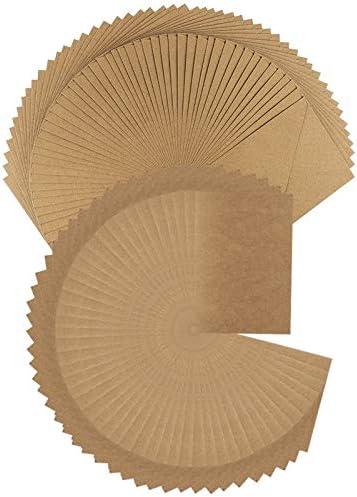 Cartes en papier kraft avec enveloppe   Lot de 50 cartes (270 g/m²) et 50 enveloppes (120 g/m²)   Qualité supérieure ...