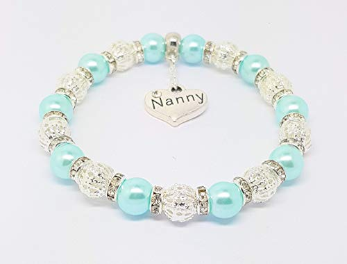 Personalised Tiffany Blue Sister Mum Charm Bracelet Elasticated Christmas