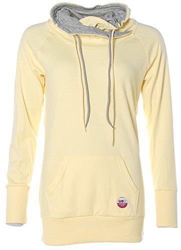 Flashlights Damen Long Sweatshirt mit Schalkragen Gelb 40/42