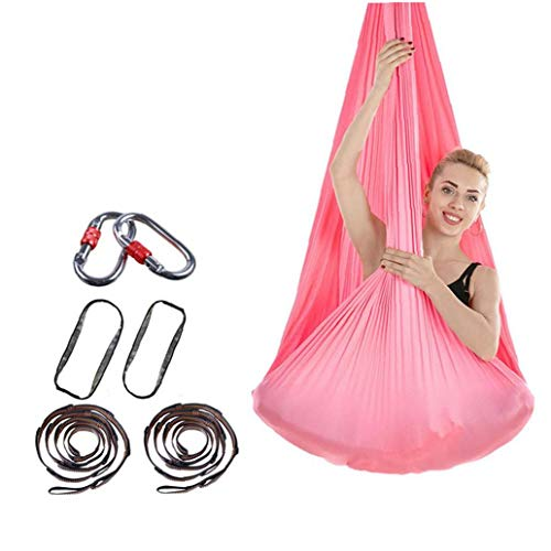 Hiinice Yoga 7pcs / Set Aérea Aérea Hamaca Columpio De Yoga para Antigravity Yoga, Ejercicios Inversión, Que Mejorará La Flexibilidad Y Fuerza De La Base Entrenamiento Conjunto Rosa Traje
