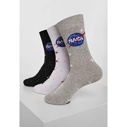 Mister Tee Unisex NASA Insignia 3-Pack Lässige Socke, schwarz/grau/weiß, 39-42