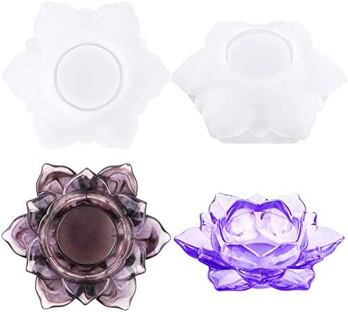Gukasxi 2PCS Lotus Tealight Candles Holders Resin Mold Flower Candlestick Epoxy Silicone Resin product image