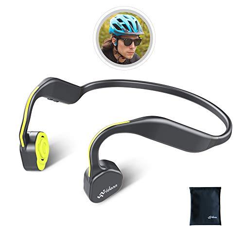 Vidonn F1 骨伝導イヤホン 耳掛け式 Bluetooth ヘッドホン 高音質 チタン合金 こつでんどう ワイヤレスイヤホン 防水防汗 スポーツ 超軽量 マイク内蔵 ブルートゥース イヤホン - イエロー