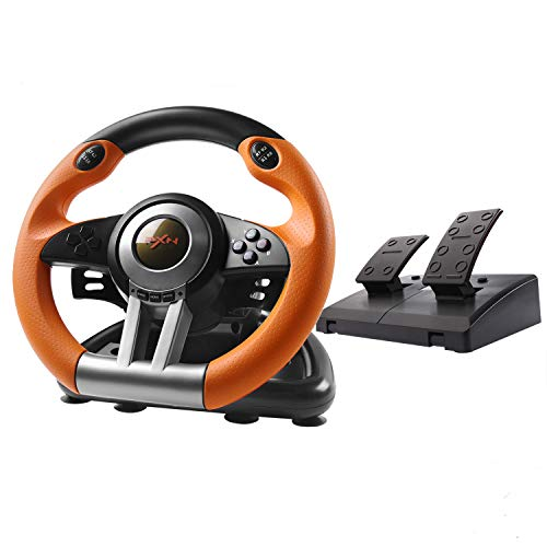 180 Degree Dual-Motor Vibration Driving Gaming Racing Wheel with Responsive Pedals for PC/PS3/PS4/XBOX ONE/Switch PXN-V3II (Orange)